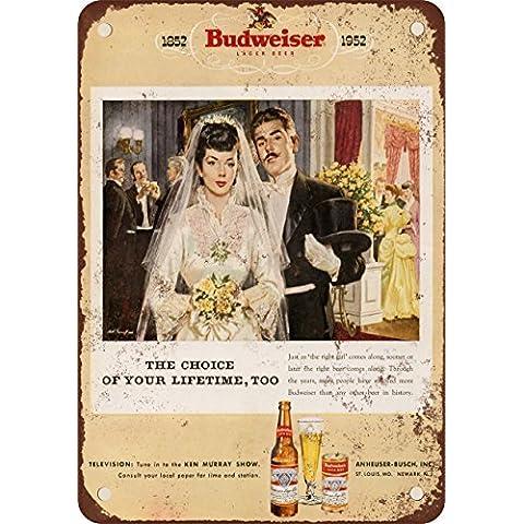 1952Budweiser birra e matrimonio stile vintage Riproduzione in metallo Tin Sign 17,8x 25,4cm