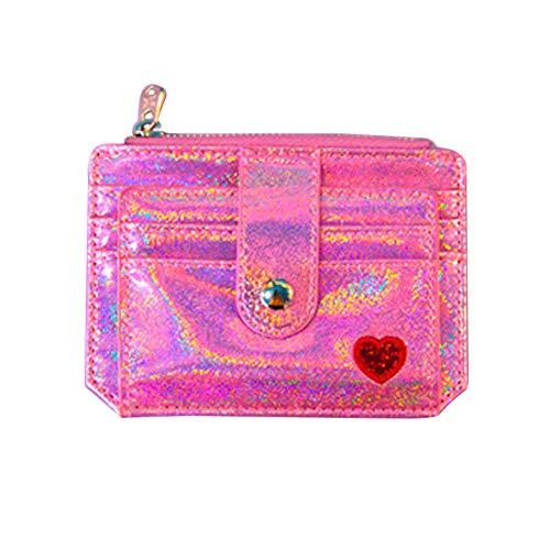 YSoutstripdu Damenpflaume Heart Stickerei Zipper Women Coin Purse Card Holder Bag Wallet-Purple/Silver/pink