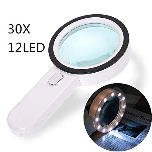 LED Vergrößerungsglas, Gemwon 30 HD beleuchtete Lupe mit 12 Super High Power LED-Leuchten Handheld Large 105mm verzerrungsfreie Linse für Bücher, Zeitungen, Karten, Münzen, Hobbies & Kunsthandwerk (weiß)