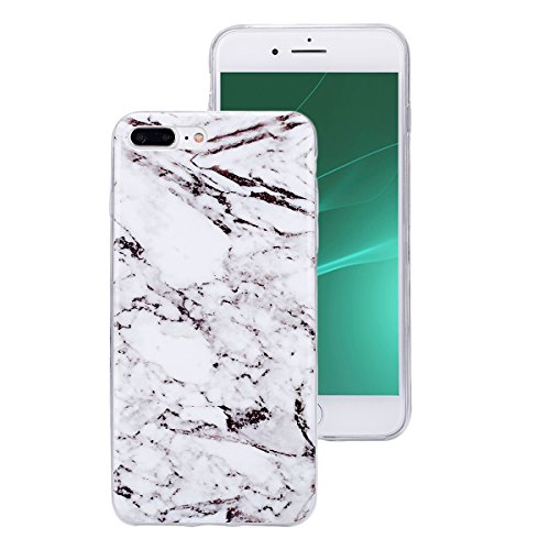 Etsue pour [ iPhone 7 Plus ] Doux Protecteur Coque,TPU Matériau Frame est Transparent Soft Cover pour iPhone 7 Plus,Marbre Motif par Dessin de Mode Case Coque pour iPhone 7 Plus + 1 x Bleu stylet + 1  Blanc