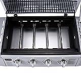 TAINO® Gasgrill BBQ GRILLWAGEN TÜV Edelstahl-Brenner Gas Grill + Seitenkocher (4-Brenner, Silber) -