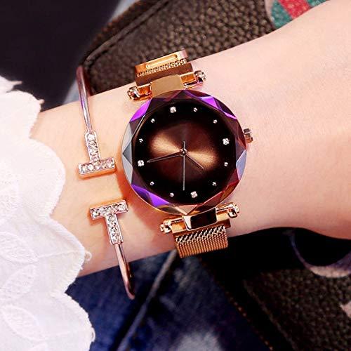 Beobachten Frauen Uhren, Starry Quarzuhr Faule Uhr Magnetband Und Armband Set wasserdichte Freizeit Uhr Glas Zifferblatt (Farbe : Braun)