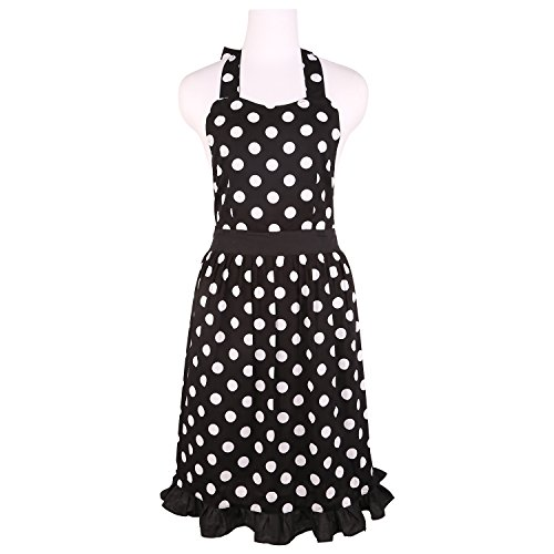 Neoviva cotone Grembiule da cucina per hostess con tasche nascoste, stile Betty, Cotone, Polka Dots Black, Adult Women