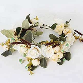 janedream Gorgeous Simulación romántica de camelia flores decorativas Coronas Coronas de fotos de boda diadema Cabello Corona Naranja