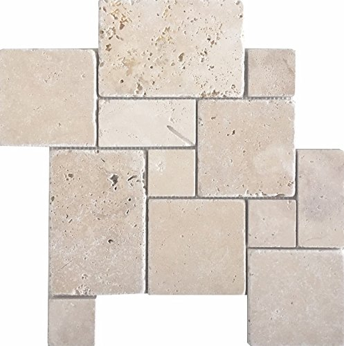 Wohnrausch WMCRC Travertin Mosaiknetz Crema im Römischen Verband, hell- bis dunkelbeige, 36cm x 36cm x 1cm, 10 Stück