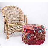 jth hecho a mano en India antiguo redondo Otomano Puf Taburete Silla De Suelo puf (tamaño: 22x 12x 22cm)