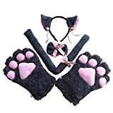 FORLADY Costume de Noël Ensemble de Costume Cosplay Chat Gants Pattes Barrette A Oreilles Queue Et Noeud Papillon Halloween