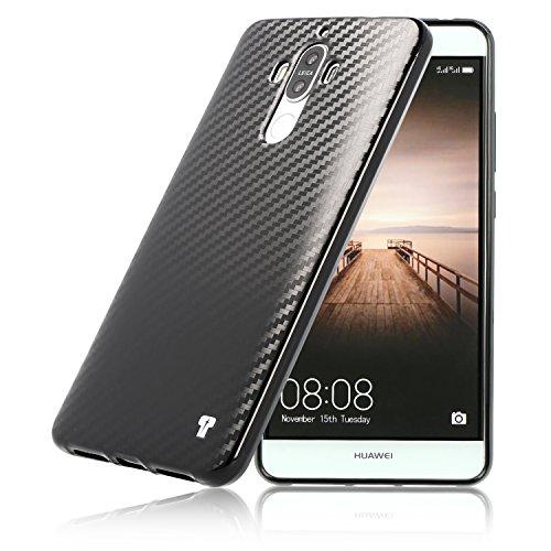 PULSARplus® Huawei Mate 9 Hülle Silikon schwarz Carbon Design Huawei Mate 9 Schutzhülle Case dünne Handyhülle Cover für Huawei Mate 9