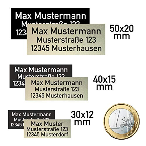 Plakette Schild für Drohne (DJI) nach neuer LuftVO, Drohnenschild, Kennzeichnung aus eloxiertem Aluminium, selbstklebend 3M, 1-2g, feuerfest (Spark, Mavic, Phantom, ...) (30x12 silber/schwarz) - Plakette