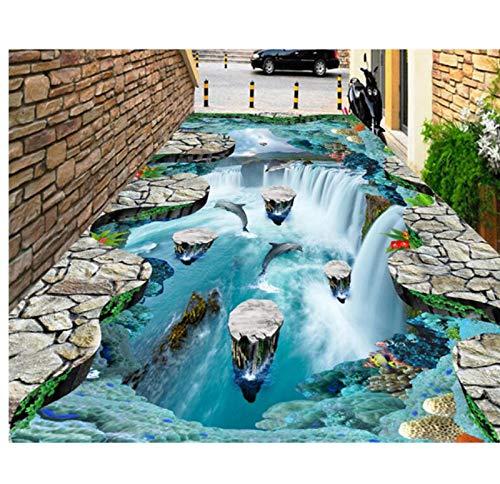 Meaosy Traum-Tapete mit schwimmenden Inseln, Wasserfall, Vögel, Badezimmer, Küche, Pfannen, 3D Bodenbelag - Antik Küche Inseln