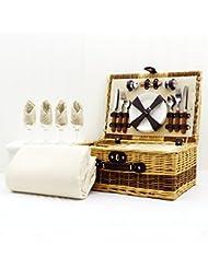 Buxton 4 persona cesta de picnic de mimbre con una manta de lana crema