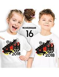 Deutschland Fußball WM 2018 Trikot Kinder-T-Shirt personalisiert mit Wunsch-Name und Nummer