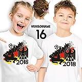 Deutschland Fußball WM 2018 Trikot Kinder-T-Shirt persomalisiert mit Wunsch-Name und Nummer Gr. 140