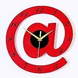 HONGYUANZHANG Schlafzimmer, Wohnzimmer Ansehen Dekorative Uhr Quarz Wanduhr Mute Clock (30 X 30 cm), Rot