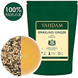 VAHDAM, hojas sueltas de té verde menta espumante de jengibre (100 tazas) | ANTIOXIDANTES RICOS | Mezcla de té de jengibre y té de menta | Preparar como té caliente o té helado | 100gr (juego de 2)