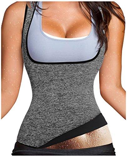 Gotoly Damen Hot Schweiß Weste Neopren Sport Body Shaper Korsett Sauna Waist Taille (Grau, L Fit 44-46) (Baumwolle Nicht-eisen-anzug)