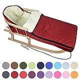 BAMBINIWELT KOMBI-ANGEBOT Holz-Schlitten mit Rückenlehne & Zugseil + universaler Winterfußsack (108cm), auch geeignet für Babyschale, Kinderwagen, Buggy, aus Wolle UNI (bordeaux)