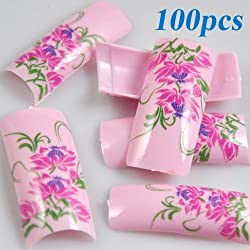 100 Stunning Pink Green Flowers Style False Acrylic French Nail Art Tips NEW by 350buy