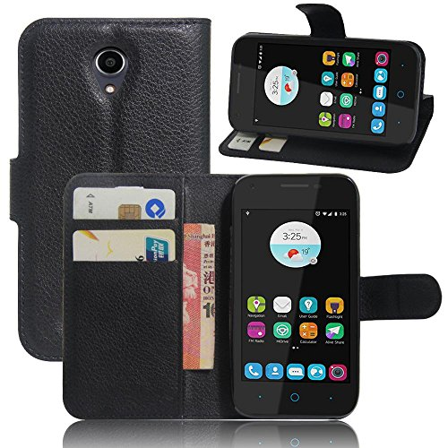 ECENCE Handy-Schutzhülle - Handytasche für ZTE Blade A110 L110 Schwarz - Smarthone Case Cover stoßfest mit Kartenfach - Handycase mit Stand-Funktion 21030209