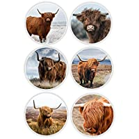 6 x Highland Cow Vinyl Stickers 8cm - Cattle Scotland Laptop Sticker Gift #30025