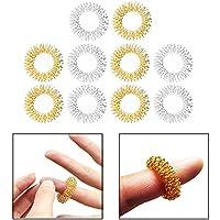 OFKPO 10pcs Anillo del Masaje del Dedo - Juego para masaje de manos (oro y plata)