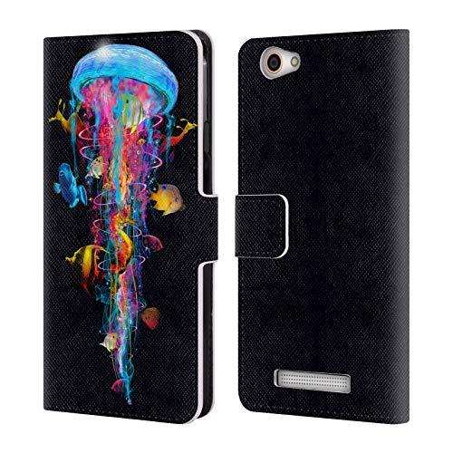 Head Case Designs Offizielle Dave Loblaw Elektrische Qualle 2 Unter Wasser Leder Brieftaschen Huelle kompatibel mit Wileyfox Spark X