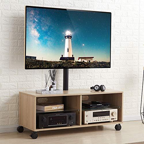 RFIVER Meuble TV Chêne Scandinave Mobile sur roulettes Cabinet TV Armoire avec Support Pivotant et Réglables en Hauteur pour télés Plats et Courbes de 32 à 65 Pouces TW5001