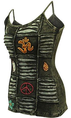 (Shopoholic Mode Verblichen Schwarz Fest Damen Emo Goth Zerschnitten Tank Tops - Schwarz, X-Large)