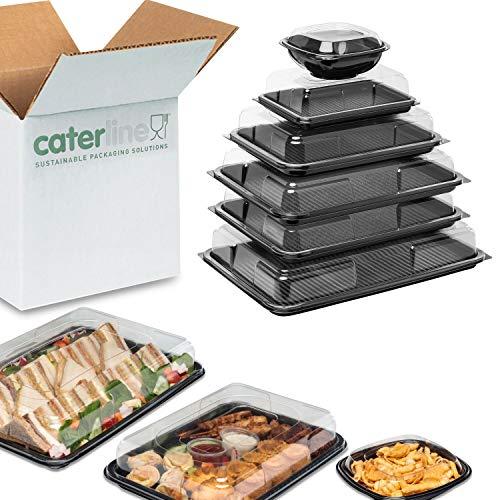 Partyteller-Set - 1 x groß, 2 x mittelgroß, 1 x klein, 1 x Mini, und 1 x Teller, 1 Schale für Knabberzeug. Mit schwarzem Boden und transparentem Deckel - für Buffet, Catering, Lebensmittel