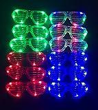 MuLucky Luz fluorescente de plástico Unisex Fashion luminoso con LED juego de 12 pantallas gafas de sol