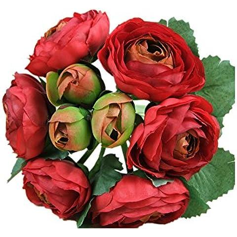 DAYAN Sposa azienda fiori rosa palla ortensia Artificiale Fiori di Seta da Sposa Matrimonio colore Rosso
