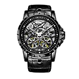 Alle Schwarz Uhrenarmband im Military Uhren Tourbillon transparent Automatik Uhren Lederband obl3606