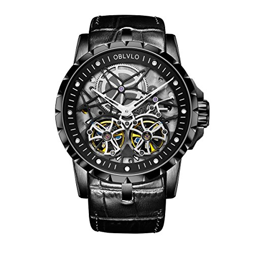 all black militray watches tourbillon transparent automatic watches leather strap obl3606