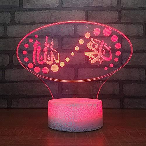 BINGXY 3D Usb Visuelle Led Islam Nachtlichter Touch-Taste Bunte Gott Allah Segnen Koran Arabisch Kinder Geschenke Tischlampe Leuchten