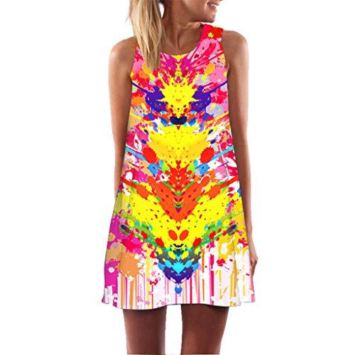 Sommerkleider Damen Kleider Lose Tunika Blusenkleider mit Taschen Lässige Punkt Gedruckter Strandkleid Knielang Tunika Tshirt Kleid Bluse(X1-f-Mehrfarbig,EU-34/CN-S) ()