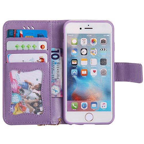 UKDANDANWEI Apple iPhone 6 PLUS Hülle Case, Nacht-Leuchtende Schutzhülle Frau Katze Muster Hülle mit Kartenfächer und Magnetverschluss für Apple iPhone 6 PLUS - Azurblau Lila