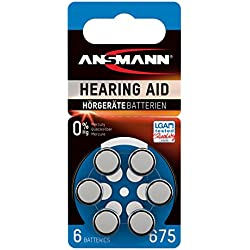 ANSMANN piles pour appareils auditifs / Pack de 1x6 piles zinc-air 1,4V - modéle 675 / Pile bouton pour appareils auditifs présentant une bonne autonomie