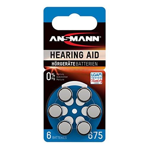 ANSMANN Hörgerätebatterien 675 blau 6 Stück - Zink Luft Hörgeräte Batterien Typ 675 P675 ZL1 PR44 mit 1,4V - Knopfzelle mit besonders langer Laufzeit für Hörgerät Hörverstärker & Hörhilfe