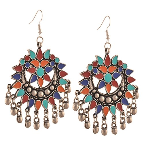 Zephyrr Fashion Multicolor German Silver Afghani Hook Chandbali Dangler Earrings For Women