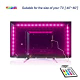 LED TV Backlight,2M USB Bias Lighting with 16 Colors and 4 Dynamic Mode for 40 to 60 Inch HDTV,PC Monitor,Led Light Strip.(4pcs x 50cm led Strips)