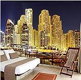 Mural 3D 3D Ciudad Moderna De Dubai Paisaje Mural Vista Nocturna Del Hotel Sofá Sala De Estar Fondo De Pantalla Mural Papel De Pared,430X300Cm (169.29X118.11 In)