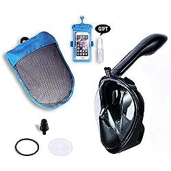 L&Q Masque De Plongée avec Masque Facial Complet, Masque De Plongée Anti-buée 180 ° HD pour Adultes, avec Support pour Appareil Photo (Noir,S)