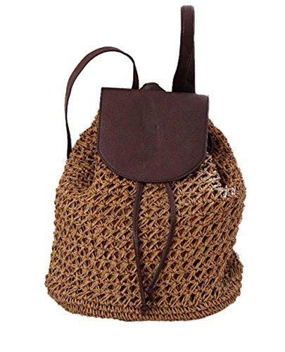 Borse a sacco di zaino in paglia Solido Magnetico tessuto esterno tessuto a maglia Borsa a maglia Tempo libero Viaggi Beach Tote , light brown