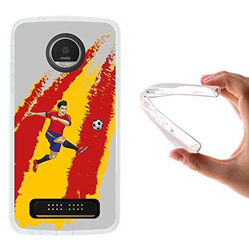 WoowCase Funda Motorola Moto Z Play, [Motorola Moto Z Play ] Funda Silicona Gel Flexible Jugador de Fútbol Bandera España, Carcasa Case TPU Silicona - Transparente