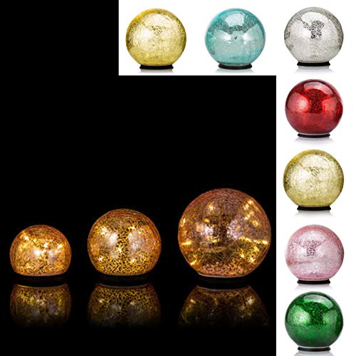 DbKW 3 Beleuchtete LED Outdoor- Kugeln, 14, 11 & 9 cm, inkl. Batterien, Garten Glaskugeln...