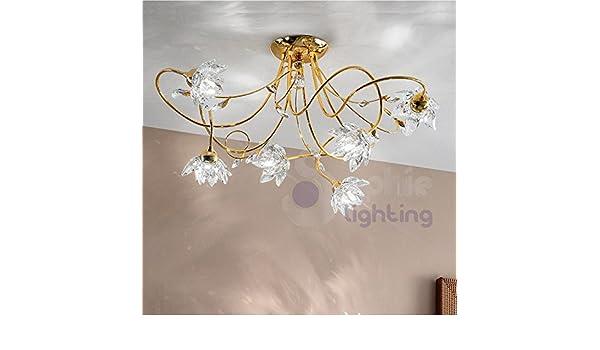 Plafoniera Fiori Cristallo : Plafoniera lampada soffitto design moderno luci bracci fiori