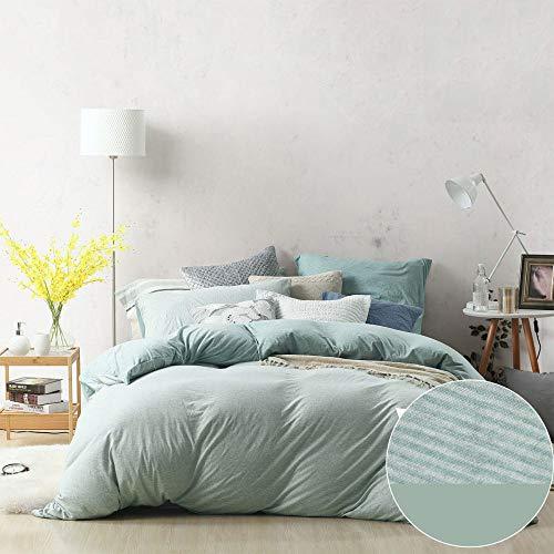 GZZ Bettbezug-Set Bettwäsche Kissenbezug Haushaltswaren Vier Stücke Gestrickte Baumwolle Einfarbig Streifen,8-1.2mbed