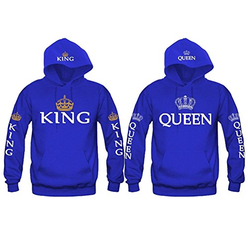 Sweatshirts Hoodies Uomo Donna - Camicetta Maniche Lunghe Felpe Casual Hoodies Coppie Amanti Top Festival Regalo Nero Rosso Blu QUEEN KING S-2XL Yuxin KING Blu