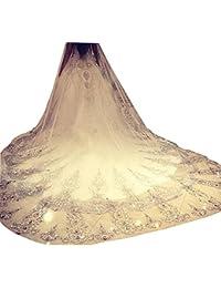 Dressvip 300cm Voile de mariage blanc ivoire avec cristal peigne gratuit