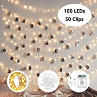 10m 100 LED 8 Modes Battery and USB Operated Photo Clip Fairy String Light for Hanging Pictures, Cards, Memos and Artwork (with 50 Clips), Warm White